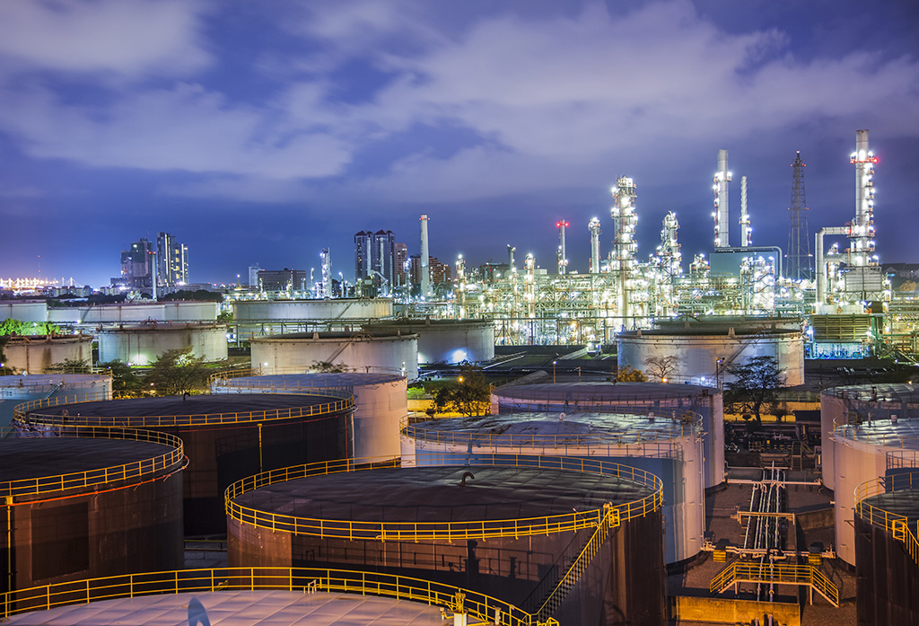 Landscape of oil refinary industry with oil storage tank
